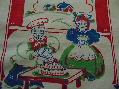 Vintage Sailcloth Cake Baker and Wife Kitchen Towel Sweet Graphics