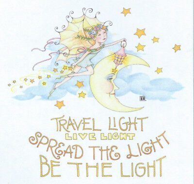 BE THE LIGHT-Handcrafted Moon Fairy Fridge Magnet-Using art by Mary Engelbreit