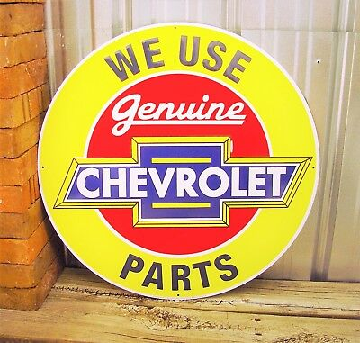 "Chevrolet Genuine Parts Chevy Large Metal Tin Sign 24"" Vintage Garage Dealer"