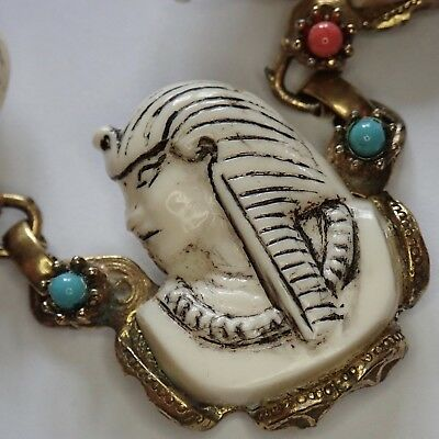 Vtg Egyptian Revival Gold Plate Faux Coral Turquoise Acrylic Pharaoh Necklace