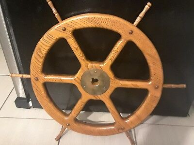 18 Inch Wooden Ship Steer Wheel With Brass Hub !!!