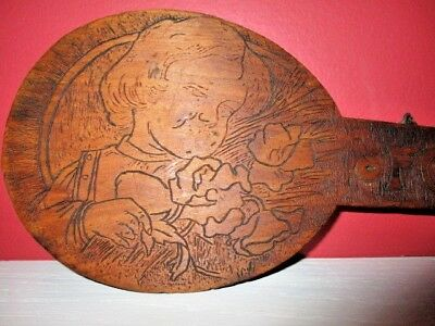 antique PYROGRAPHY Flemish Art wooden DARLING CHILD wall shelf clothes hanger