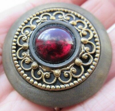 Spectacular X LARGE Antique~ Vtg GAY 90's Metal BUTTON w/ Ruby Red GLASS (P4)