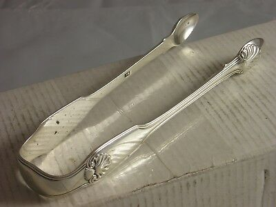 Heavy Rare 1828 Fiddle Thread Shell Silver Sugar Tongs 62 grams William Chawner