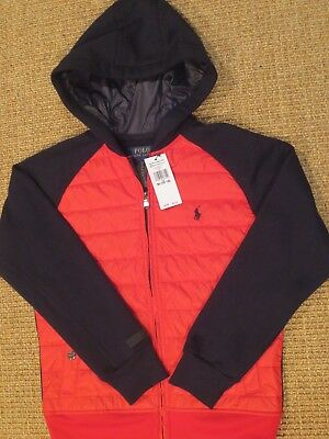 Polo Ralph Lauren  Boy's   Jacket  Medium 10 / 12 New  Hooded Red Black $95