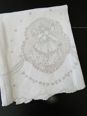 Antique Linens- Lovely Appenzell Linen Tea Towel W/courting Figures