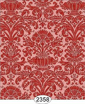 Miniature Dollhouse Wallpaper 1:12 Scale - Annabelle Reverse Damask Red - 2358