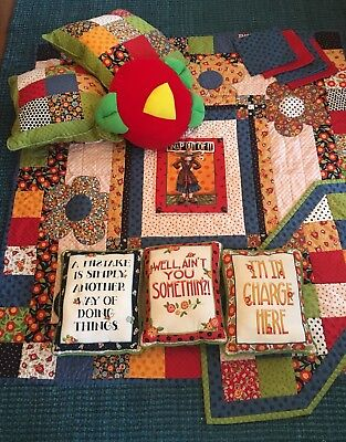 Mary Engelbreit fabric Quilt, 6 pillows, Runner, and 4 napkins