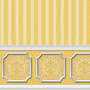 Dollhouse Wallpaper 1:12 Scale - Annabelle Wainscot Mural Yellow Gold - 2614