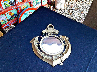 Vintage Large Brass Nautical Mermaid Ship Anchor Mirror Decor French For My Love