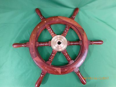 "24"" Nautical Wooden Ship Wheel With Brass Hub Maritime Decor"