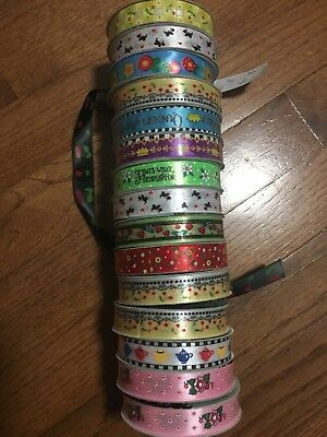 Mary Engelbreit 15 rolls of ribbon Scrapbook stickers Assorted themes