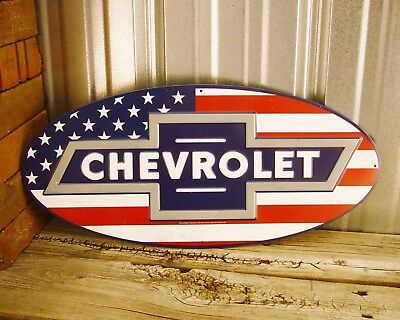 "Chevrolet Chevy Emblem USA Flag Logo Bow Tie 20"" Embossed Oval Metal Tin Sign"