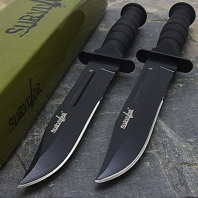 "2 x 7.5"" MILITARY TACTICAL COMBAT KNIFE w/ SHEATH Survival HUNTING Bowie Blade"