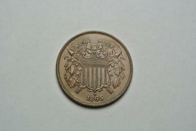 1865 Two, 2 Cent Coin, XF/AU Condition - C5344