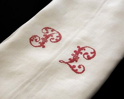 """Antique French Country Linen Sheet  PL Red Monogram Cross Stitch 82"""" x 120"""""""