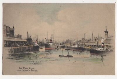 The River Clyde From George V Bridge Andrew Allan 1929 Postcard Scotland 725b