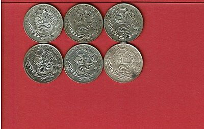 Peru 1 Sol Silver Crowns 1934 Lot Of Six (6) Seated Liberty Design