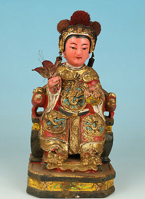 Chinese Wood Handmade Carved West King God Statue Figure