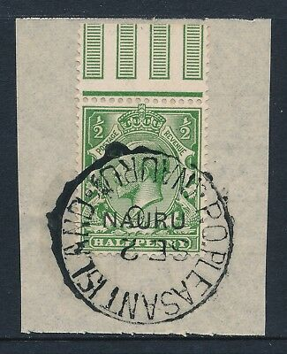 1916 NAURU ½d YELLOW GREEN FINE USED ON PIECE SG1 CTO DATED 2nd SEPTEMBER 1916