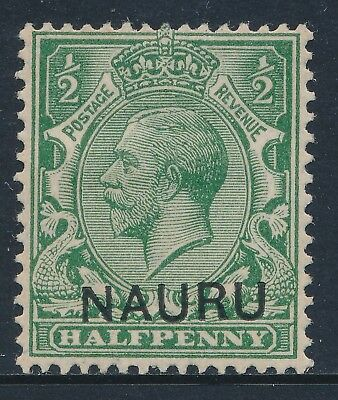 1916 NAURU ½d YELLOW GREEN MINT HINGED (MH) SG1var DROPPED CLICHE/SLOPING OVPT