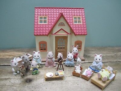 Job Lot Bundle Sylvanian Families Figures House Cosy Cottage Furniture Clothes