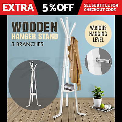 Coat Hanger Stand Rack Clothes Wooden Hat Jacket Bag Umbrella Hook White