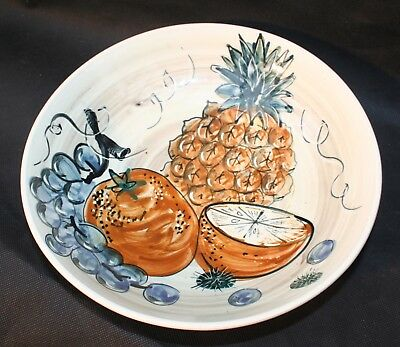 Studio Pottery Hand Painted Jersey Pottery Fruit Bowl Signed by artist CP