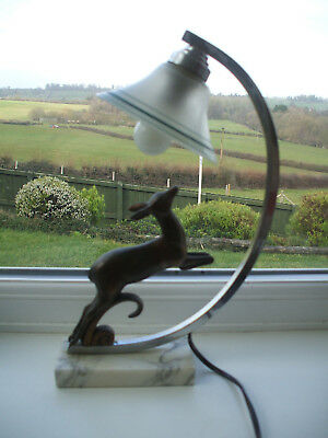 Vintage Art Deco Lighting/table Lamp With Deco Leaping Deer Chrome Finish