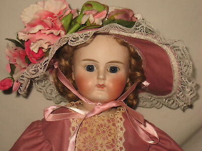 """Antique 21"""" French Closed Mouth Bisque Swivel Shoulder Head Doll    ME14"""