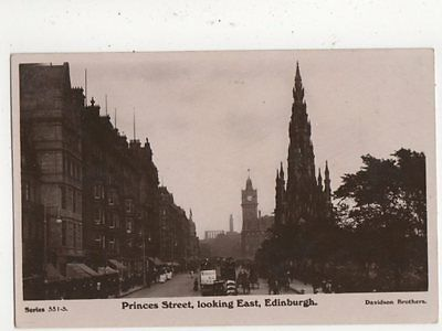 Princes Street Looking East Edinburgh 1909 RP Postcard 518a