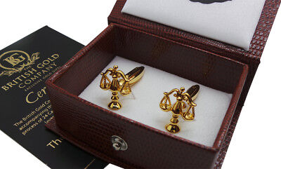 LEGAL Scales of Justice Gold Cufflinks Luxury Gift Case Solicitor Law Lawyer
