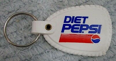 Vintage 1980's Diet Pepsi Red White Blue Plastic Key Chain Fob FREE S/H