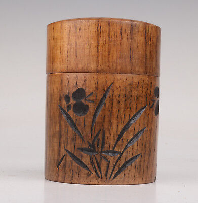 Real Wood Carving Orchid Adorn Japanese Style Tea Caddy Collectable