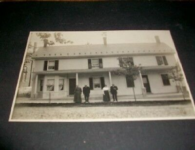 Old Vintage Antique Photograph Huge Old Country House Couples Standing in Front