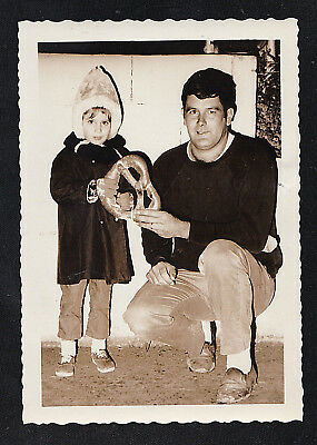 Old Vintage Antique Photograph Man With Little Girl Holding Huge Pretzel