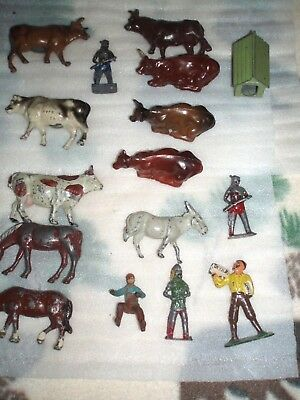 (Lot of 16) Cast Iron Fig.- 2 Horses,7 Cows,1 Donkey, 5 fig ,1 Dog House