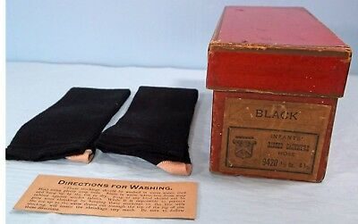 ANTIQUE BLACK CASHMERE INFANT BABY CHILDREN CLOTHING LONG  SOCKS w/BOX
