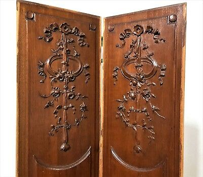 "Pair Carved Wood Panel 30"" Antique French Roses Flowers Architectural Salvage"