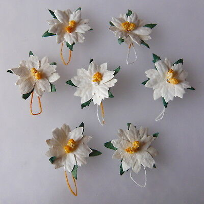 5 x 30mm WHITE Mulberry Paper Flowers POINSETTIA Christmas Cardmaking Crafts