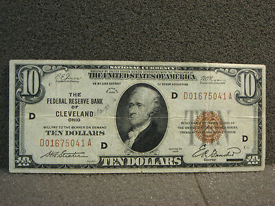 1929 $10 Federal Reserve Bank of Cleveland Ohio Note Brown Seal VF