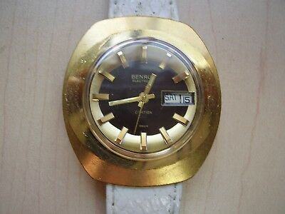 Vintage Benrus Electronic 10K Goldf Larger Day-Date Usx Watch-Swiss-Parts Repair