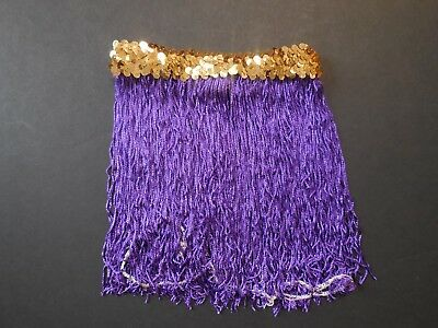 "NWOT  9"" Length Purple Chainette Fringe Skirt Gold Flat Sequin Waistband"