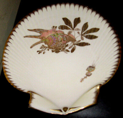Wedgwood shell-shaped porcelain fish plate with gilded decoration c1880
