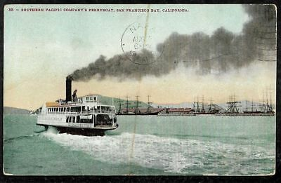 Southern Pacific Ferryboat San Francisco Bay Picture PC Pmk 1908 to Napa CA