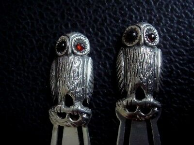 Pair Of Solid Sterling Silver Hallmarked Owl Bookmarks With Real Garnet Eyes