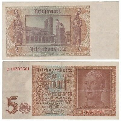 Five ReichsMarks German banknote issued in 01.08.1942 Z vf