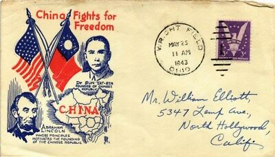 Dr Jim Stamps Us China Fights For Freedom Lincoln Sun Yat Sen Cover 1943 Wwii