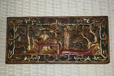 Antique Chinese Wood Carving Black Red Gold Monks Musical Wedding Panel Stamped
