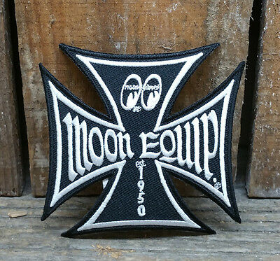 Moon Equipped Maltese Iron Cross Jacket Hat Patch Rat Hot Rod Vtg Style Gasser